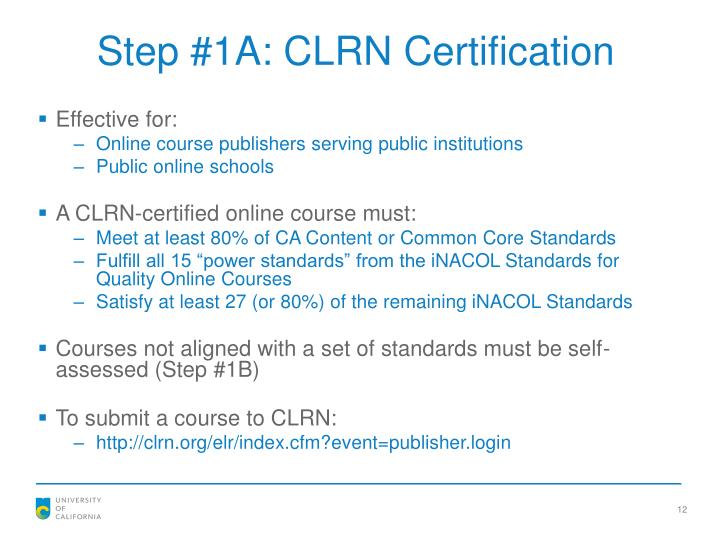 Step #1A: CLRN Certification