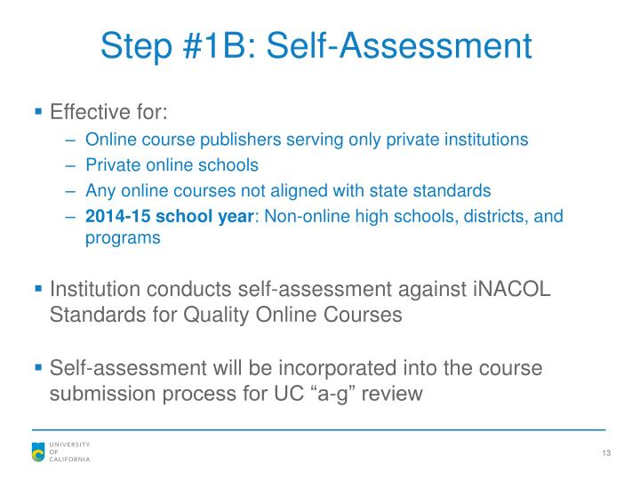Step #1B: Self-Assessment