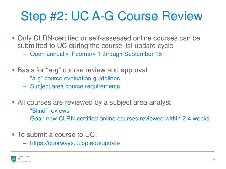 Step #2: UC A-G Course Review