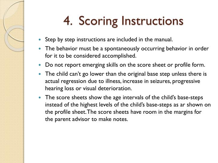 4.  Scoring Instructions
