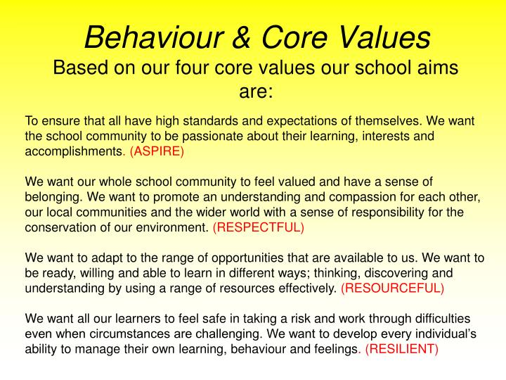 Behaviour & Core Values