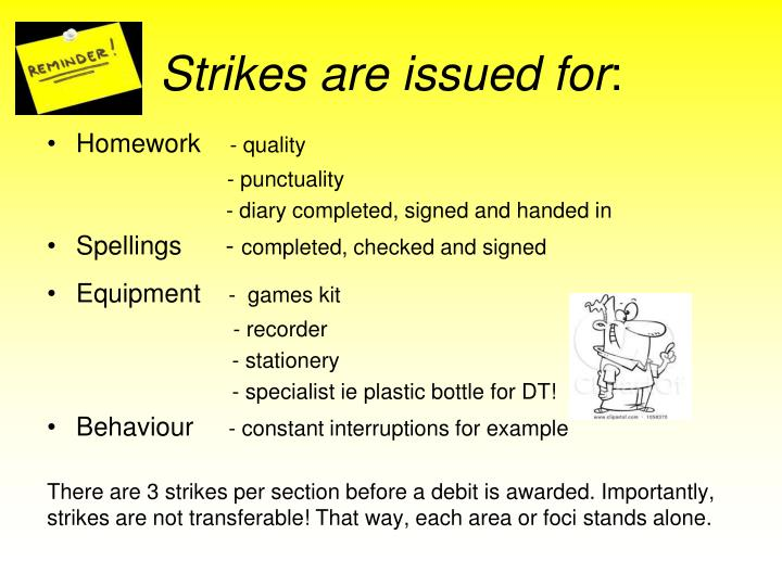 Strikes are issued for