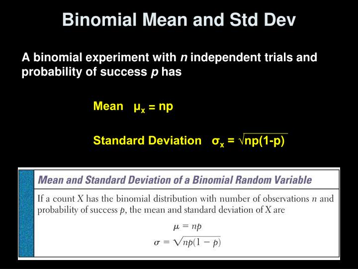 Binomial Mean and Std Dev