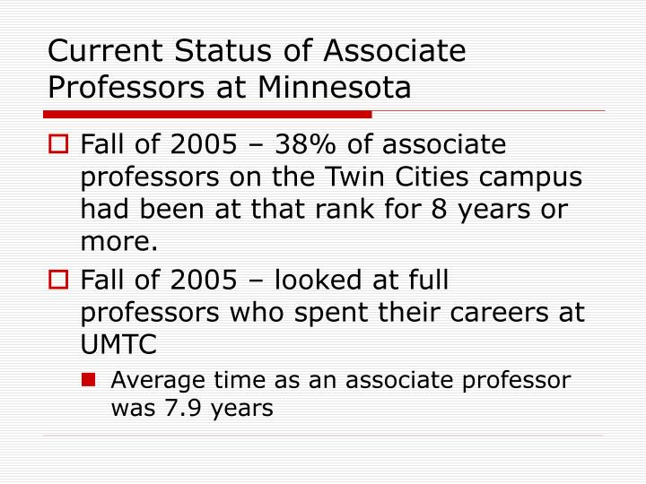 Current Status of Associate Professors at Minnesota