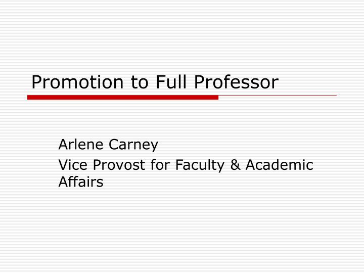 Promotion to full professor