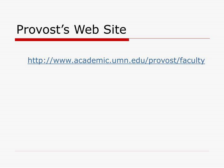 Provost's Web Site