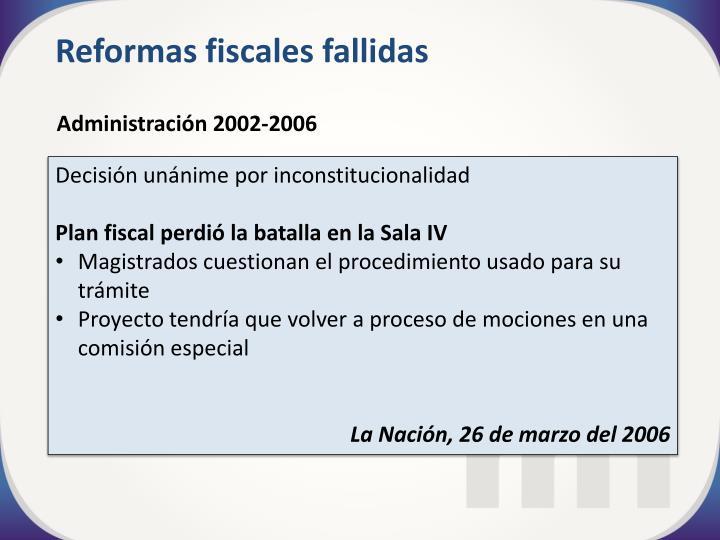 Reformas fiscales fallidas