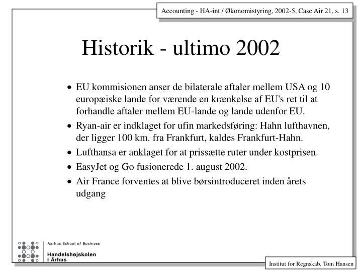 Historik - ultimo 2002
