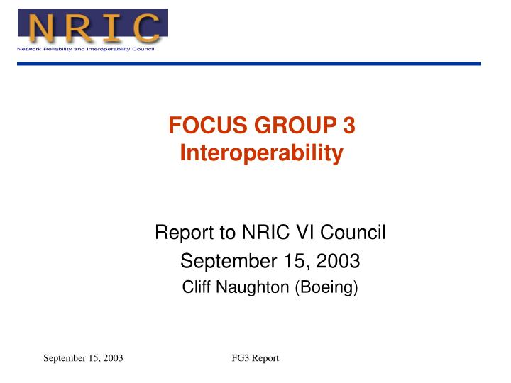 Focus group 3 interoperability