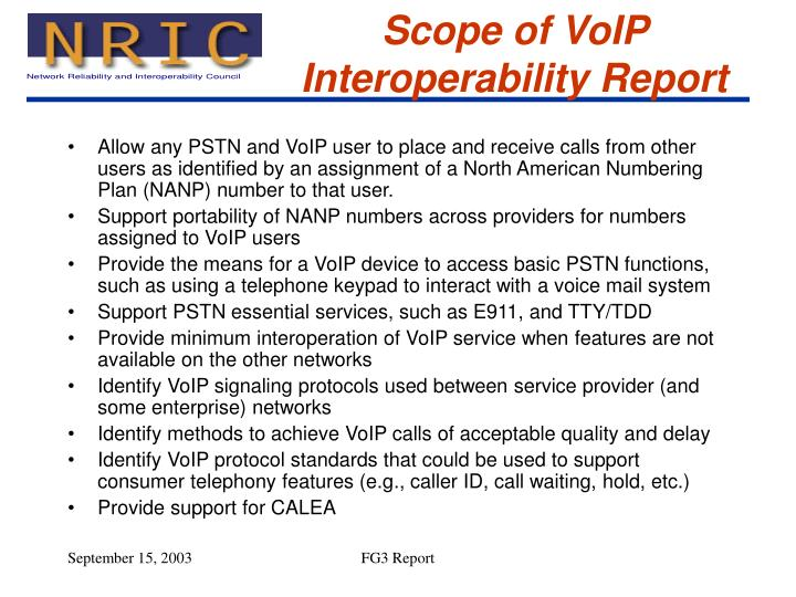 Scope of VoIP Interoperability Report