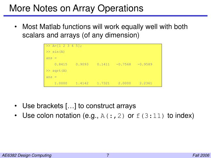 More Notes on Array Operations