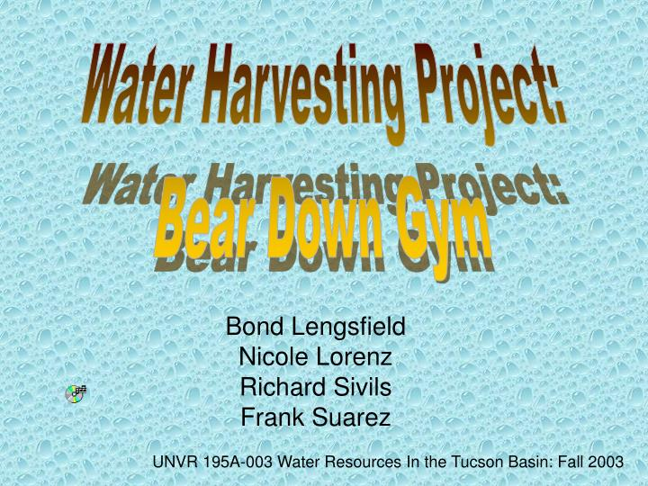 Water Harvesting Project: