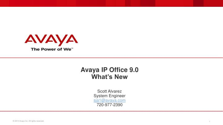 Avaya ip office 9 0 what s new
