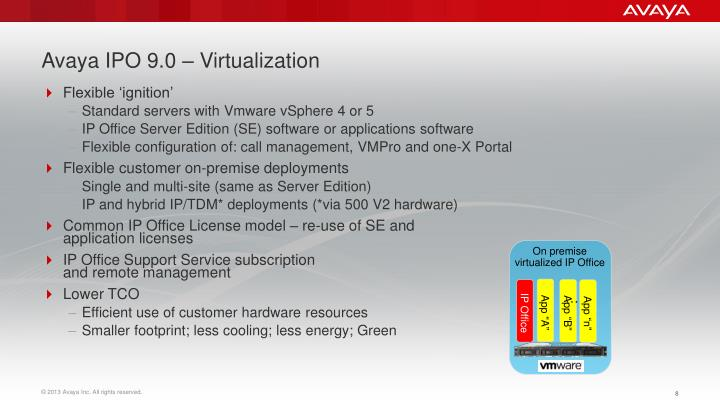 Avaya IPO 9.0 – Virtualization