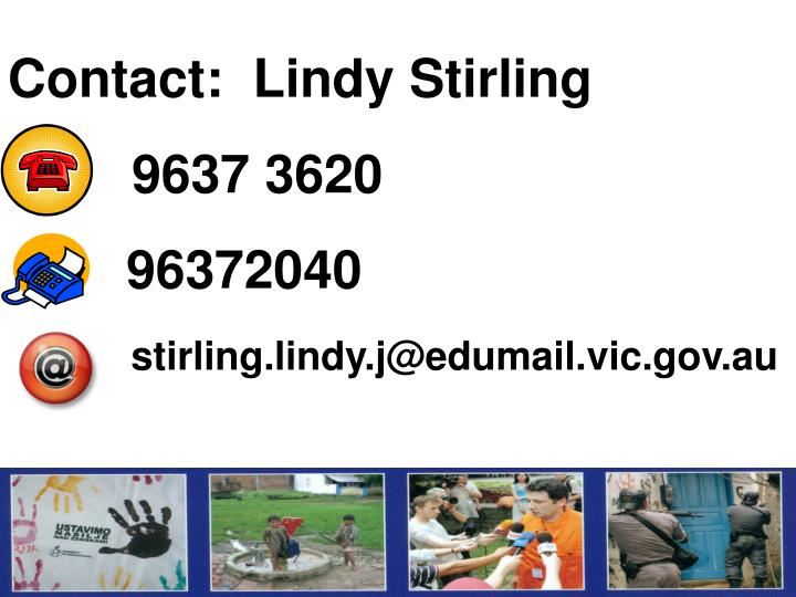 Contact:  Lindy Stirling