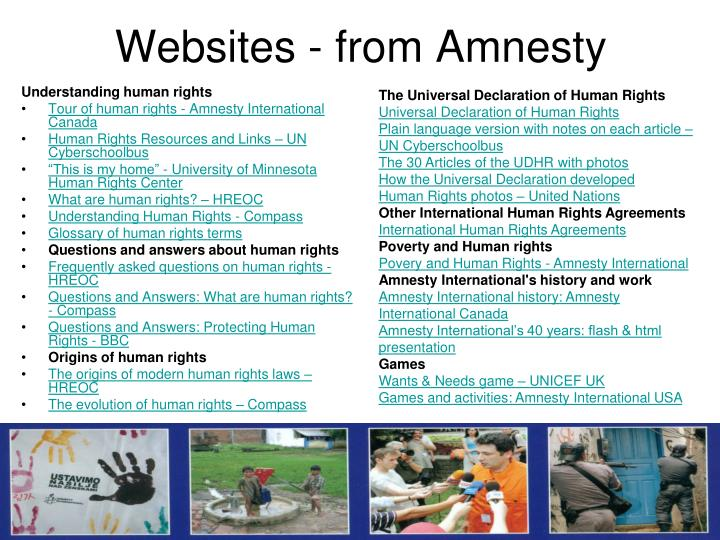 Websites - from Amnesty