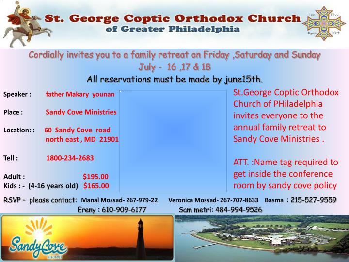 Cordially invites you to a family retreat on Friday ,Saturday and Sunday