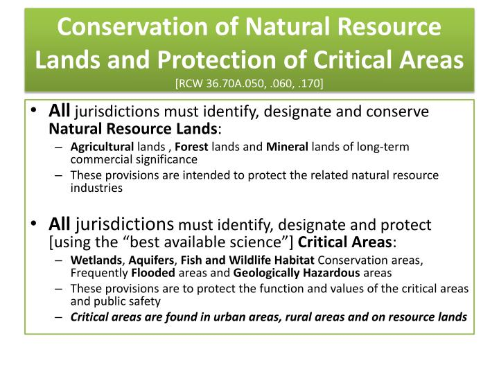 Conservation of Natural Resource Lands and Protection of Critical Areas