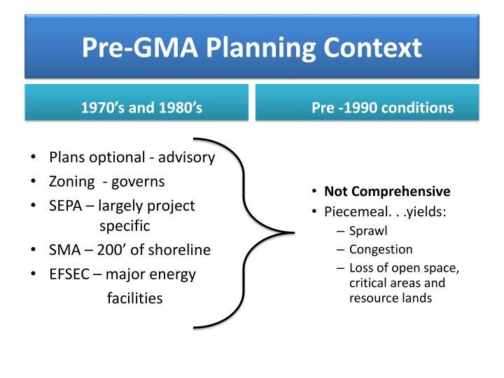 Pre-GMA Planning Context