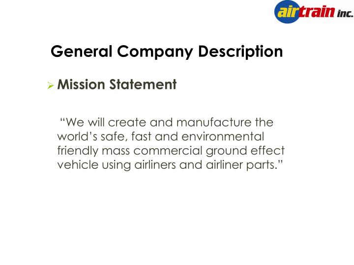 General Company Description