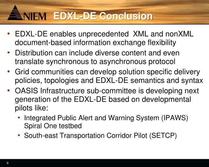 EDXL-DE Conclusion