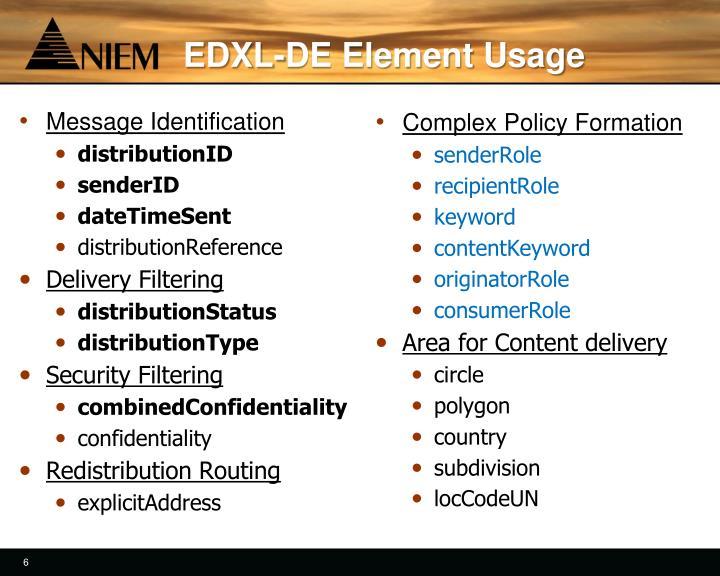 EDXL-DE Element Usage