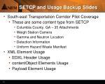 setcp and usage backup slides