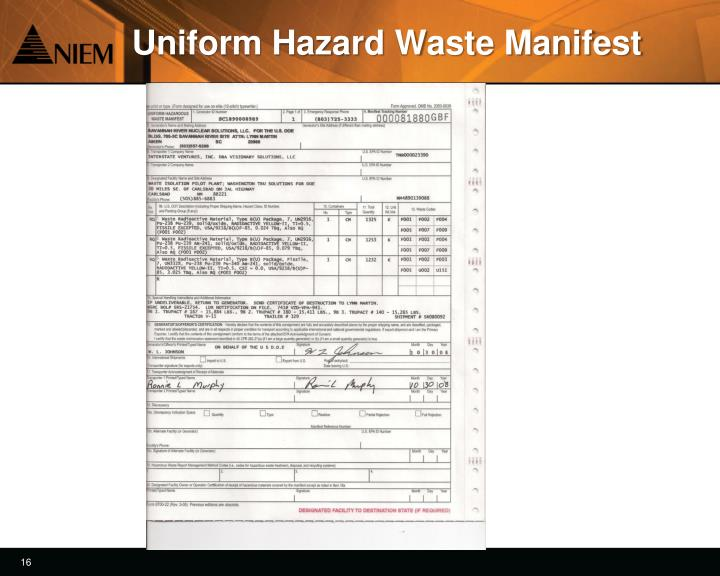 Uniform Hazard Waste Manifest