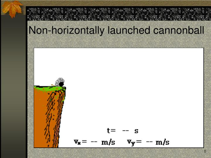 Non-horizontally launched cannonball