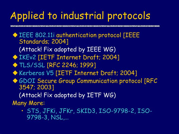 Applied to industrial protocols