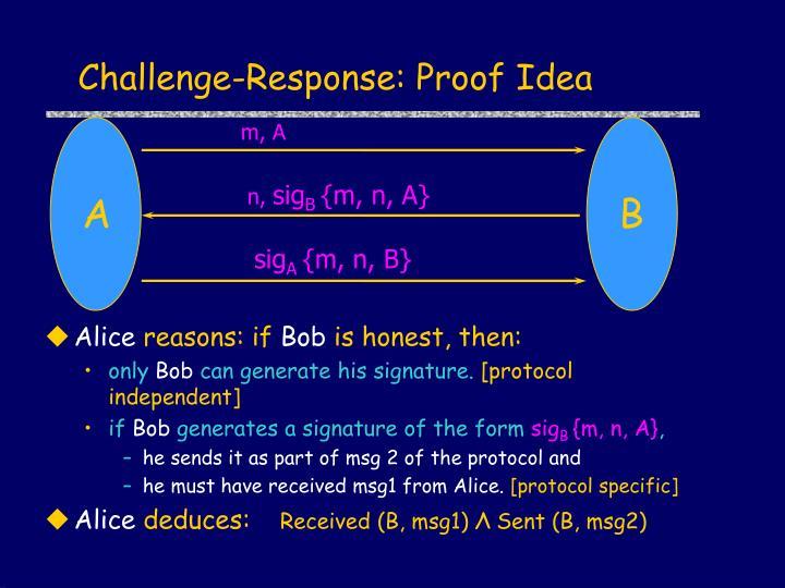 Challenge-Response: Proof Idea
