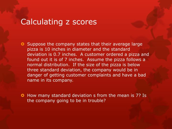 Calculating z scores