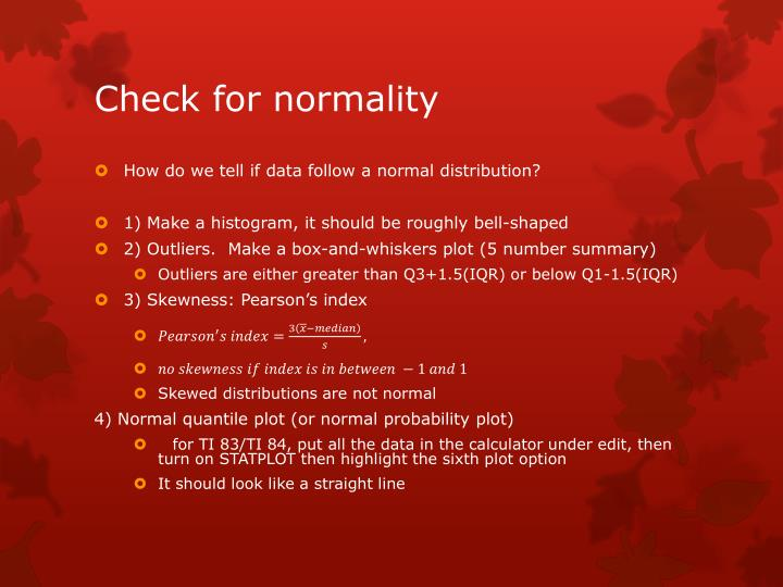 Check for normality