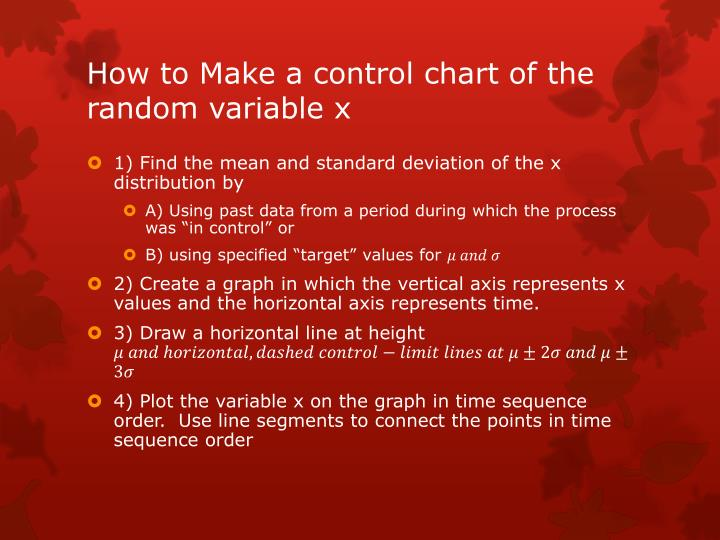 How to Make a control chart of the random variable x