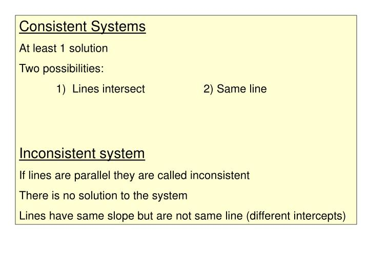 Consistent Systems