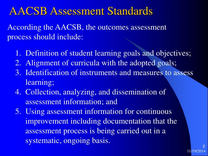 Aacsb assessment standards