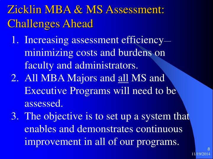 Zicklin MBA & MS Assessment: Challenges Ahead
