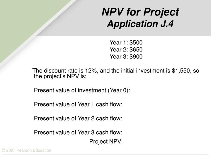 NPV for Project