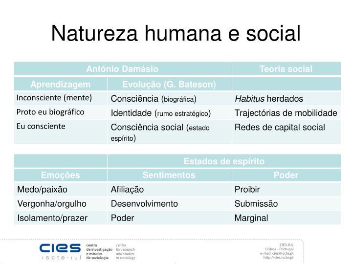 Natureza humana e social