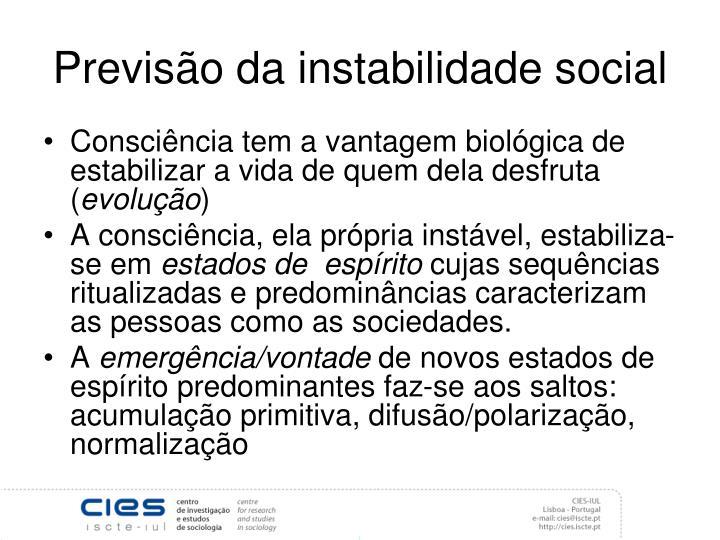 Previsão da instabilidade social