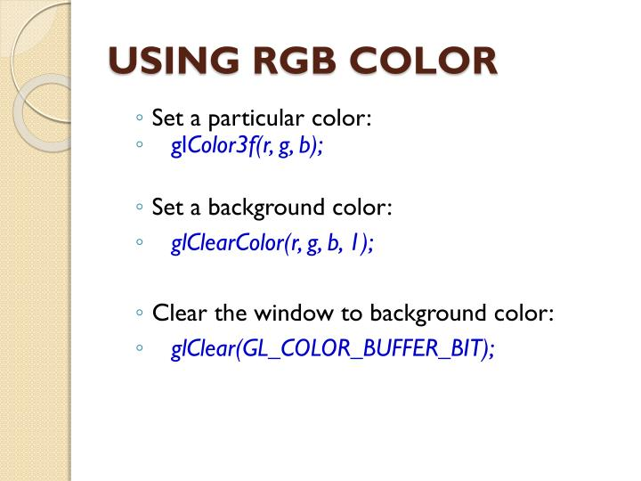 USING RGB COLOR