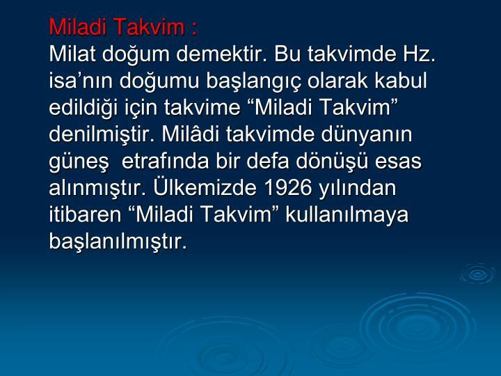 Miladi Takvim: