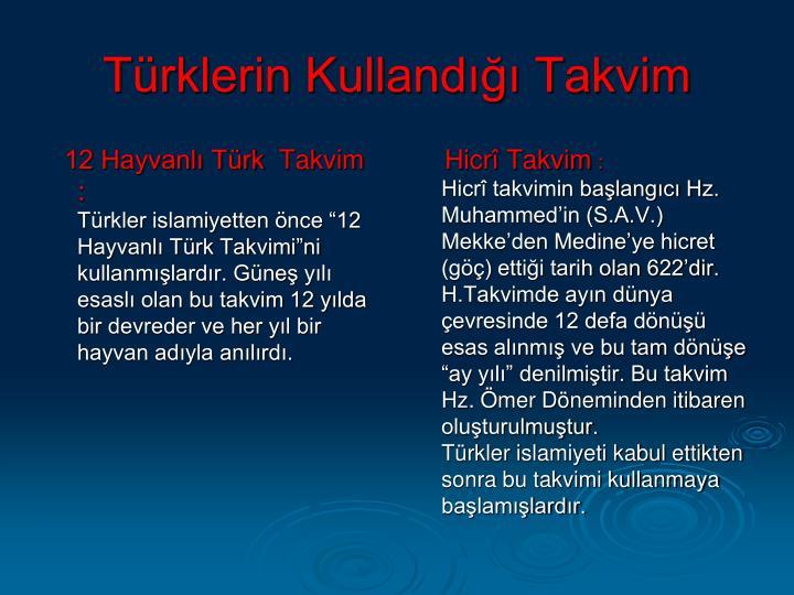 12 Hayvanlı Türk Takvim :