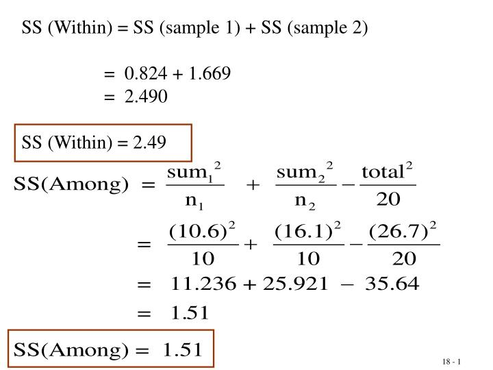 SS (Within) = SS (sample 1) + SS (sample 2)
