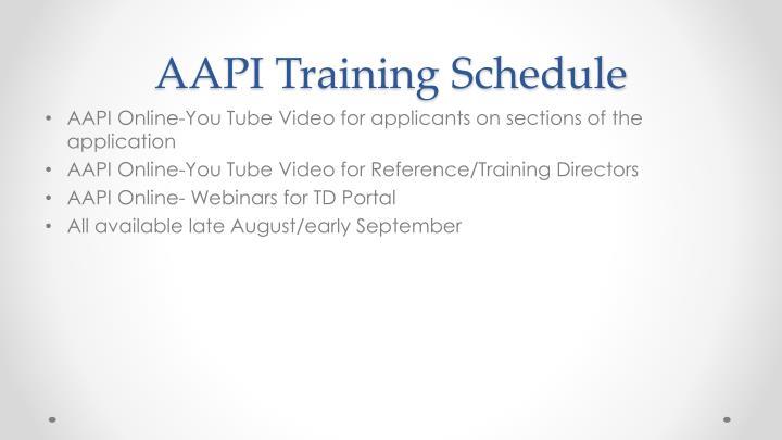 AAPI Training Schedule