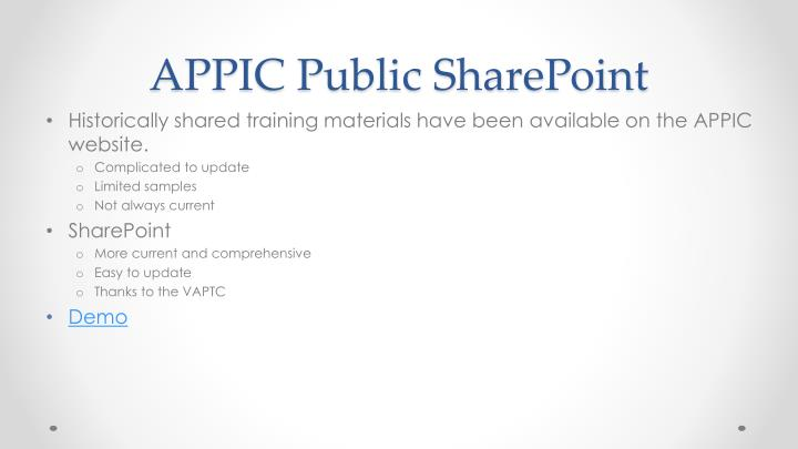 APPIC Public SharePoint