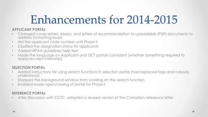 Enhancements for 2014-2015
