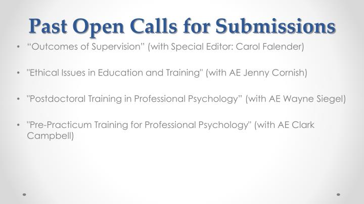 Past Open Calls for Submissions