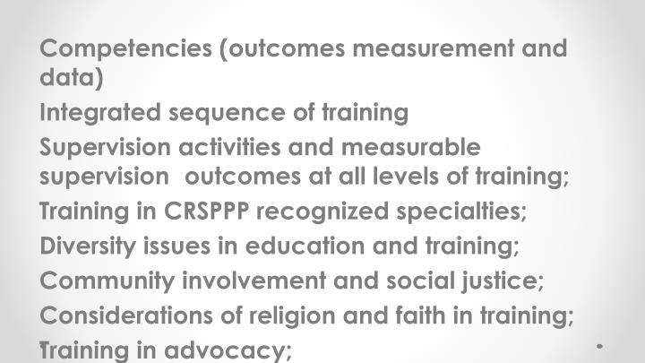 Competencies (outcomes measurement and data)