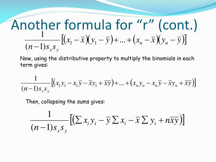 "Another formula for ""r"" (cont.)"